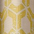 Hexagonal Geometrical Print Eyelet Curtains, OCHRE, swatch
