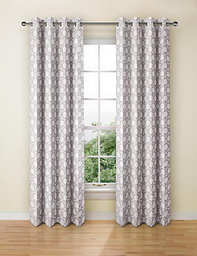 Hexagonal Geometrical Print Eyelet Curtains, SILVER, catlanding