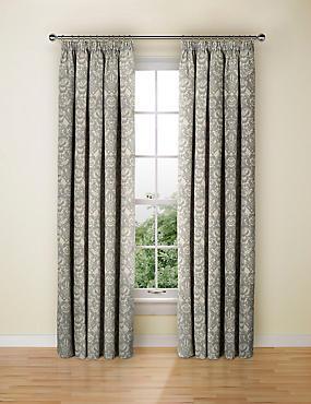 Floral Damask Jacquard Curtain, NATURAL MIX, catlanding