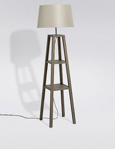 Theo Grey Wood Shelves Floor Lamp