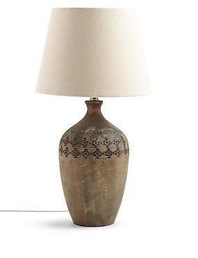 Bianca Wooden Urn Table Lamp, GREY, catlanding