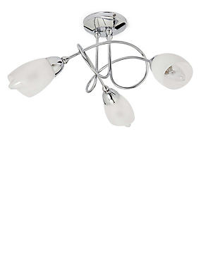 Andrea 3 Light Flush Lamp, CHROME, catlanding
