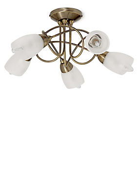 Andrea 5 Light Flush Lamp, ANTIQUE BRASS, catlanding