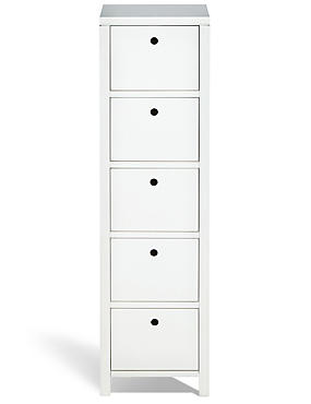 Nagoya 5 Drawer Tallboy White
