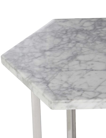 Ava White Marble Side Table