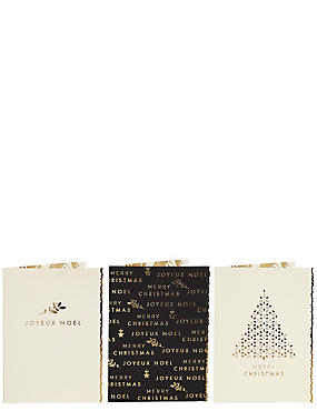 Gold Joyeux Noel Christmas Charity Cards Pack of 15