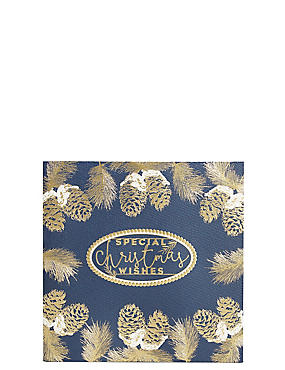 Gold Pine Cone Christmas Charity Cards Pack of 20