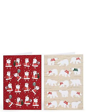 Santa & Polar Bear Christmas Charity Cards Pack of 20, , catlanding