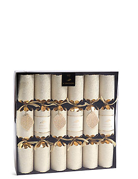 Gold Leaf Christmas Crackers Pack of 6
