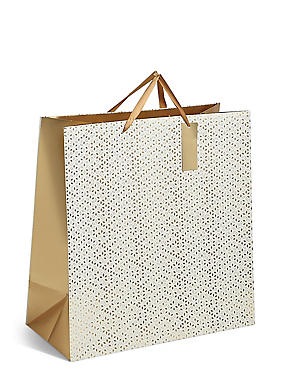 Gold Geometric Extra Large Christmas Gift Bag, , catlanding