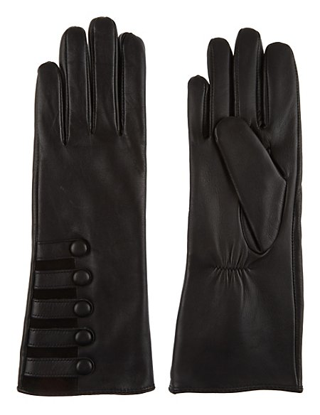 Leather Military Button Gloves