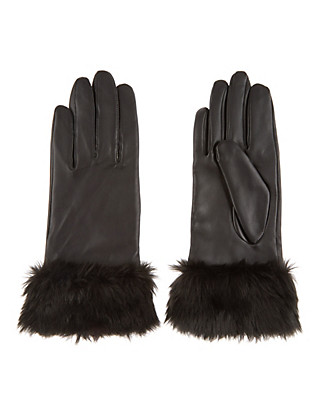 Leather Faux Fur Cuff Gloves Clothing