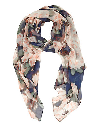 Pure Silk Lightweight Painterly Blossom Scarf Clothing