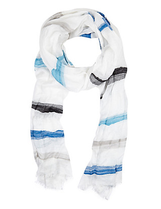 Textured Striped Lightweight Scarf with Modal Clothing