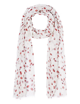 Lightweight Modal Blend Ditsy Ladybird Scarf Clothing