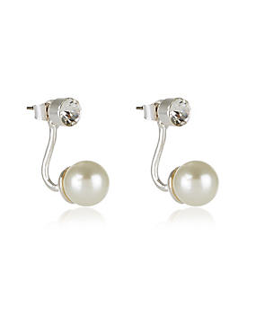 Pearl Effect Floating Ball Earrings