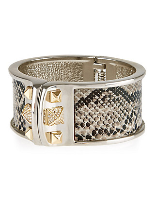 Faux Snakeskin Statement Cuff Bracelet Clothing