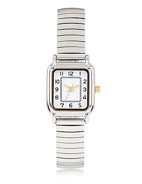 Square Face Analogue Expandable Watch, SILVER MIX, catlanding