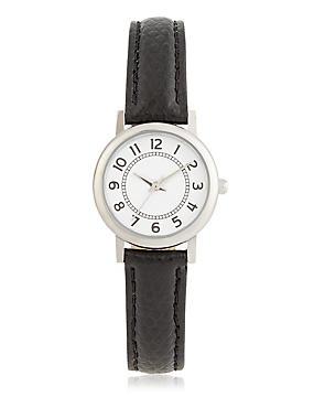 Simple Round Face Mini Watch, BLACK MIX, catlanding