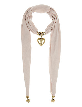 Heart Pendant Natural Scarf Necklace Clothing