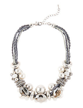 Pearl Effect & Faceted Bead Necklace