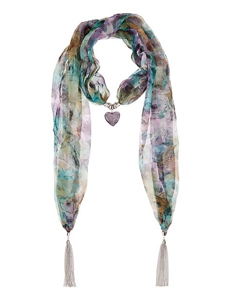 Foil heart pendant scarf necklace ms collection ms foil heart pendant scarf necklace aloadofball Gallery