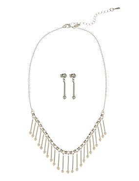 Pearl Effect Stick Necklace & Earrings Set