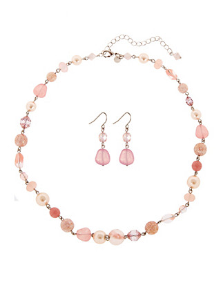 Bead Necklace & Earrings Set Clothing