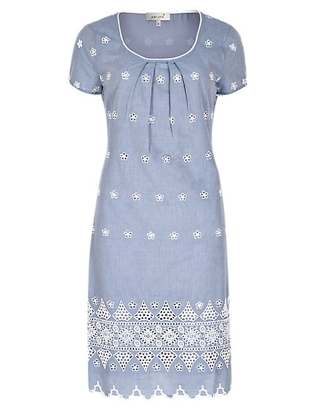 Pure Cotton Chambray Embroidered Shift Dress