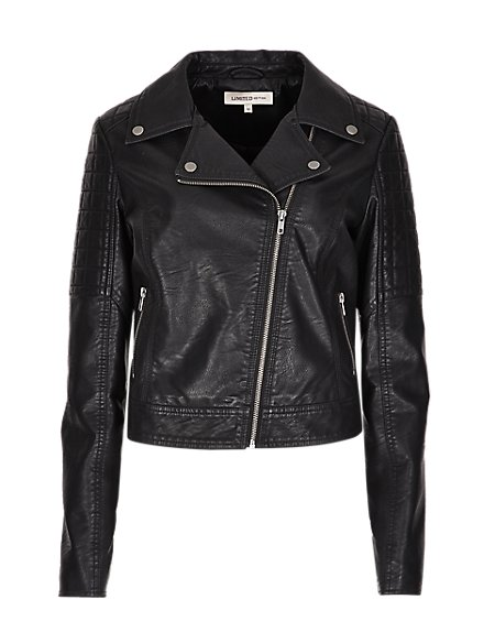 Faux Leather Square Quilted Biker Jacket