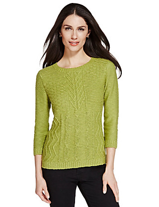 3/4 Sleeve Cable Knit Jumper Clothing