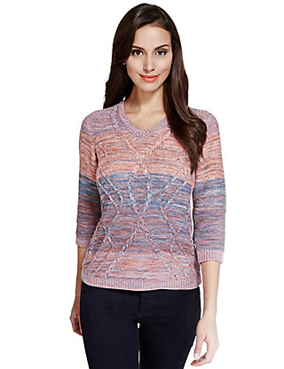 Pure Cotton Ombre Cable Knit Jumper Clothing