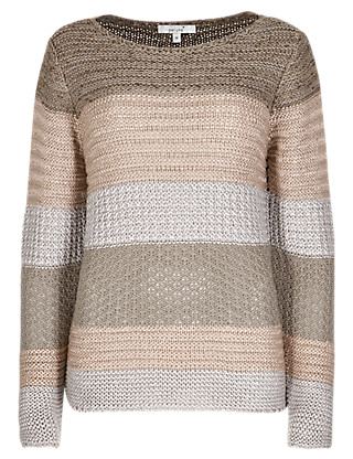 Tape Knit Striped Textured Jumper Clothing