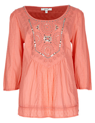 Pure Cotton Bead & Sequin Embellished Blouse Clothing