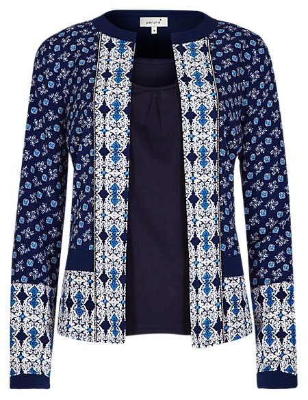 Tile Print Jacket with Camisole