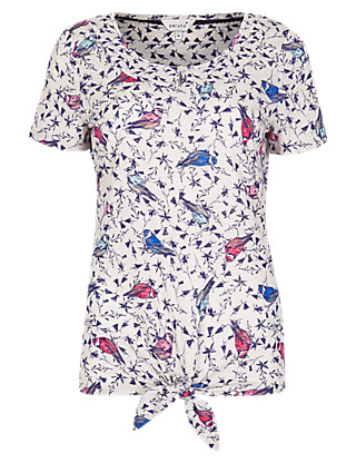 Bird Print Tie Up T-Shirt Clothing