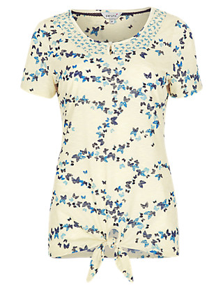 Front Knot Butterfly Print T-Shirt Clothing