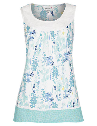 Pure Cotton Trailing Floral Top Clothing