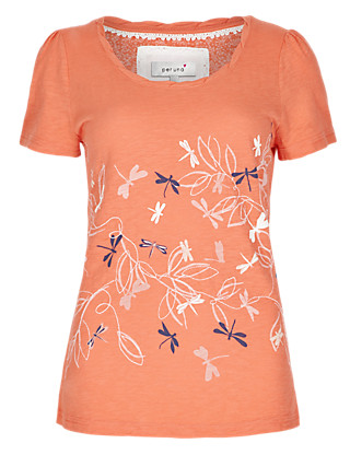 Pure Cotton Dragonfly Embroidered T-Shirt Clothing