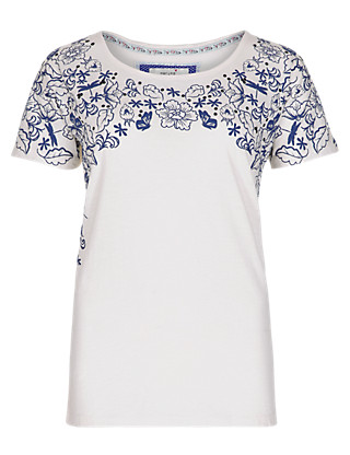 Pure Cotton Floral T-Shirt Clothing