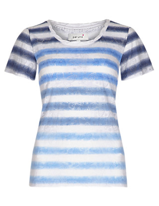 Pure Cotton Ombre Striped Butterfly Burnout T-Shirt Clothing