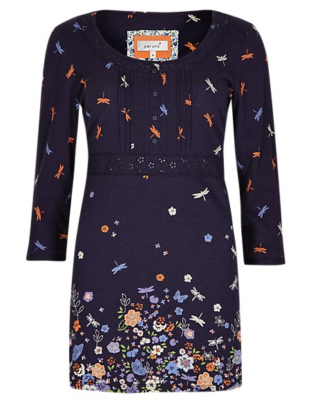 Pure Cotton 3/4 Sleeve Dragonfly Print Tunic