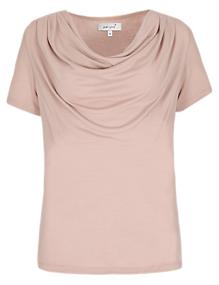 Modal Blend Cowl Neck Top Clothing