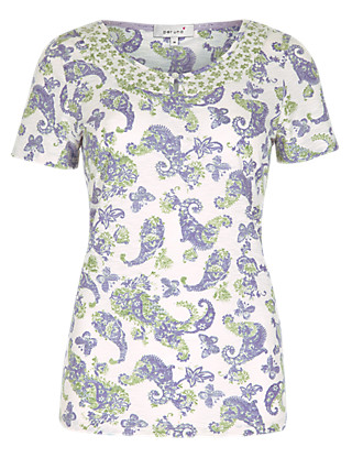 Butterfly & Paisley Print Top Clothing