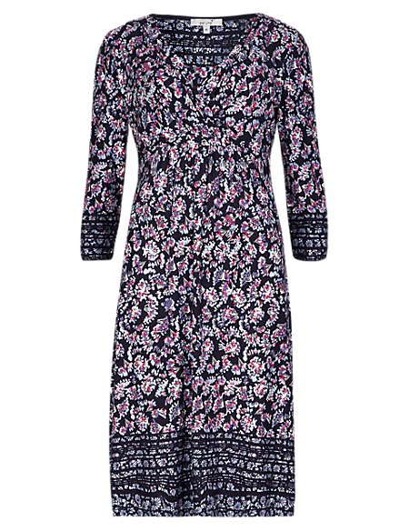 3/4 Sleeve Ditsy Floral Fit & Flare Dress