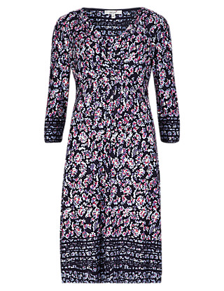 3/4 Sleeve Ditsy Floral Fit & Flare Dress Clothing