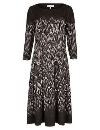 Feather Jacquard Fit & Flare Dress Clothing