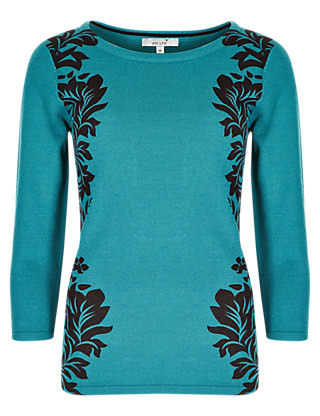 3/4 Sleeve Placement Print Jumper Clothing
