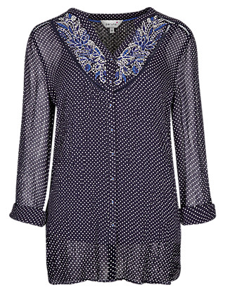 Embroidered Dotty Blouse Clothing