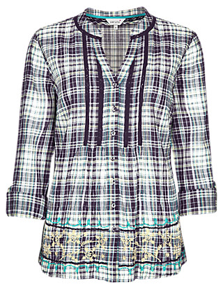 Pure Cotton Checked Shirt with Camisole Clothing